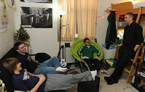 Rev Pete McCormick, CSC, in a Student Dorm Room at Notre Dame