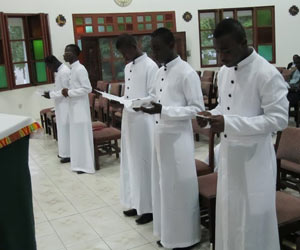 The Five New Holy Cross Novices in Ghana