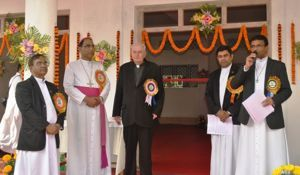 Br Sesuraj, Bishop Lumen, Fr Warner, Fr Abraham, and Fr Kallarackal at the Dedication