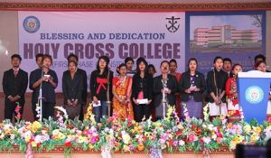 Student performances during the dedication of Holy Cross College in Agartala