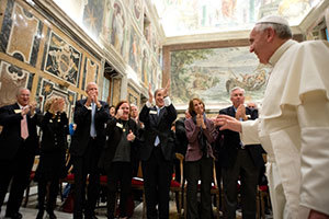 Pope Francis greets the Notre Dame delegation