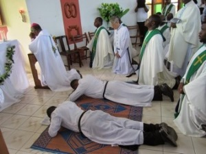 The Litany of the Saints at the Final Vows Mass in Ghana