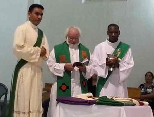 The blessing of Armando's chalice, patent, and chasuble before his priestly ordination