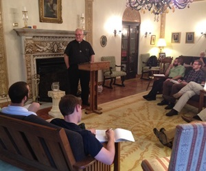 Fr David Guffey, CSC, gives the novices their First Profession Retreat