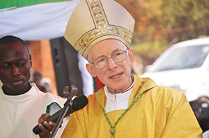 Archbishop Blume preaches at the Ordination Mass in Uganda