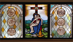 The stained glass of Our Lady of Sorrows