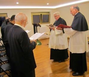 Fr Warner, assisted by Fr Rocca, leads the blessing of the renovated Generalate