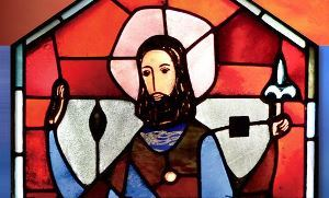 A stained glass image of St Joseph from a window in the Oratory done by artist Marius Plamondon