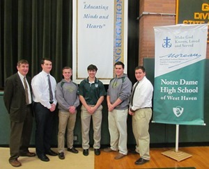 Students who reflected on their Education in the Holy Cross Tradition (left to right):  Brother James Branigan, CSC (President, NDHS), Anthony Coss, Alec Albright, Zachary Cofrancesco, Colton Kopcik, and Joseph Petrosino