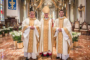 Newly Ordained Fathers Hovde And Strach With Bishop Rhoades