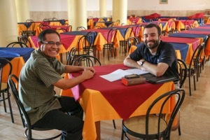 Fr Julio Arias, CSC, And Seminarinan Ryan Pietrocarlo, CSC, Converse At The General Chapter