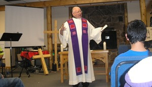 Fr Robert Epping, CSC, Preaching A Youth Group Retreat In Colorado