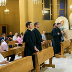 15. Temporarily professed, Brogan Ryan, Michael Thomas, Ryan Pietrocarlo and Joe Pedersen,  who assisted at the chapter renewed their vows during the concluding mass of the pre-Chapter days of reflection.  Fr. Thomas O'Hara, received their vows.