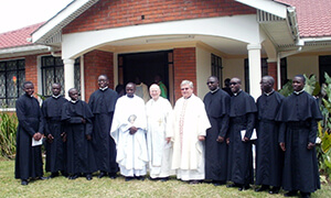 Newly Professed With Novitiate Staff – Frs Mukasa, Smith And Lucas (who Assisted Fr Mukasa While Fr Smith Was On Home Leave)