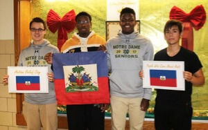 From Left: Zach Bilchek '17, Michael Brooks '18, Chris Dikko '17, And Angel Chavez '17 Are Representatives Of The Clubs That Promoted Haiti Relief Day