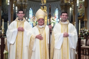 Bishop Arthur Colgan with the Newly Ordained Priests Palmer and Pietrocarlo
