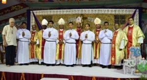 From the right side Digonta Denis Chambugong, Gracy Isubious D'Rozario, Robert Robi Nokrek, Gourav Graner Pathang and Kevin Louis Kubi with bishops and others