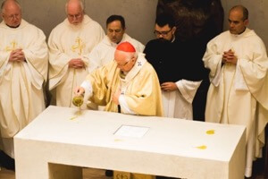 Cardinal Ezzati anoints the altar with Sacred Chrism