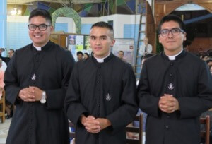 The three newly professed in Latin America (left to right): Luis, Pedro, and Anthony