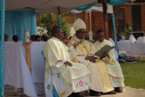 Bishop Kirabo presides at the Holy Cross Ordinations