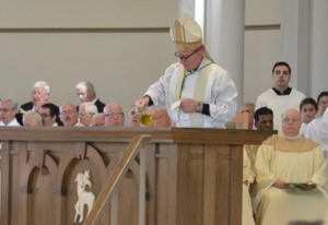 Bishop John Noonan anoints the altar with Sacred Chrism