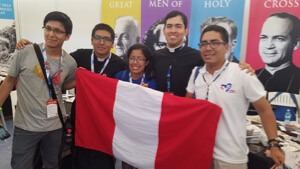 Br. Anthony Terrones, CSC, and Seminarian Jim Gutierrez, CSC, help at the Vocations Fair