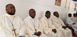 The New Finally Professed Religious of Holy Cross in Haiti during the Mass