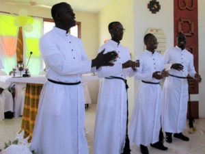 Four Newly Professed Brothers in Ghana in 2019
