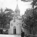 Br. André Bessette, C.S.C., outside the Oratory of St.Joseph