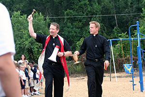 Fr Wack and Fr Grove Blessing New Playground